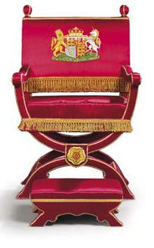 Duke Kent Red silk chair George VI coronation