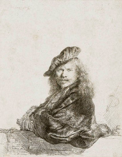 Rembrandt Self Portrait Leaning on a Stone Sill