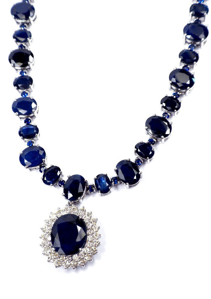 Sapphire white gold necklace