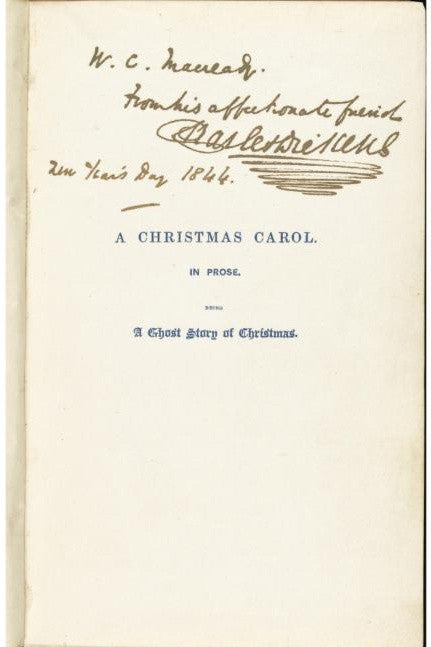 Charles Dickens inscribed Christmas Carol