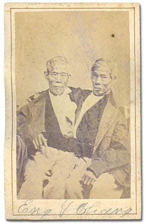 Signed photograph of Siamese twins Chang and Eng