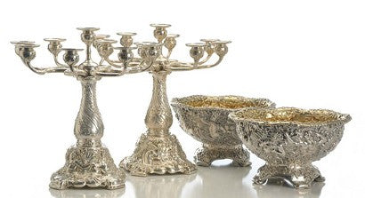 Silver antique Tiffany bowls and candelabra