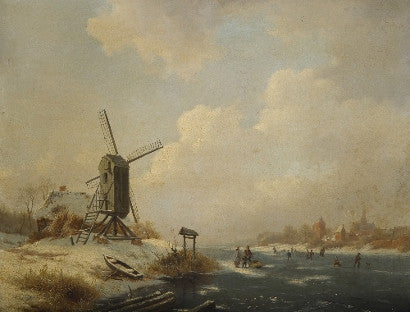 Skaters by a windmill