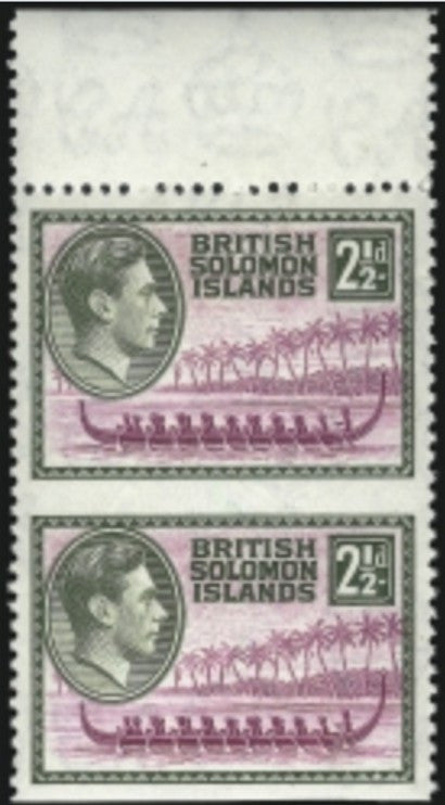Solomon Islands Imperforate Horizontally Vertical Pair