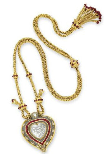 Taj Mahal diamond jade necklace with a ruby and gold chain by Cartier
