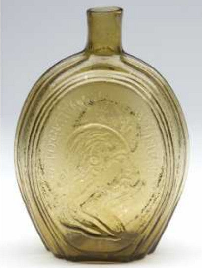 This rare and historical portrait flask shows the strong busts of George Washington and Henry Clay41