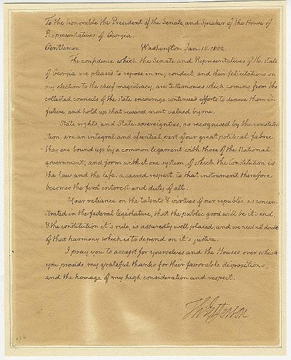 Thomas Jefferson signed letter