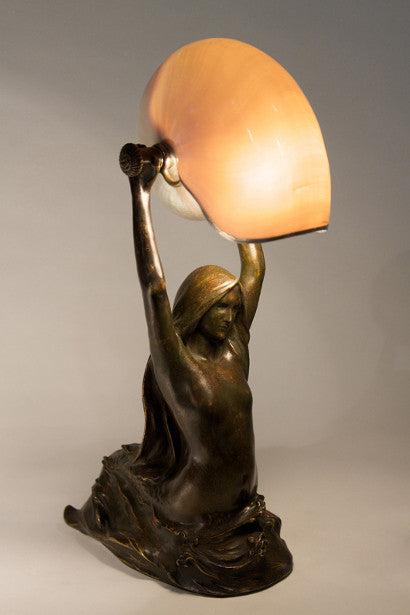 Tiffany Gudebrod antique nautilus mermaid bronze lamp