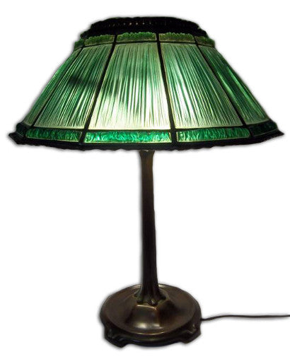 Tiffany Linen Fold Green Lamp