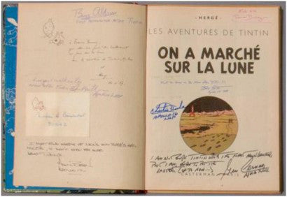 Tintin moonwalker autographs moon