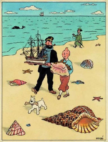 Tintin, Captain Haddock, Cuthbert Calculus and Snowy on the beach