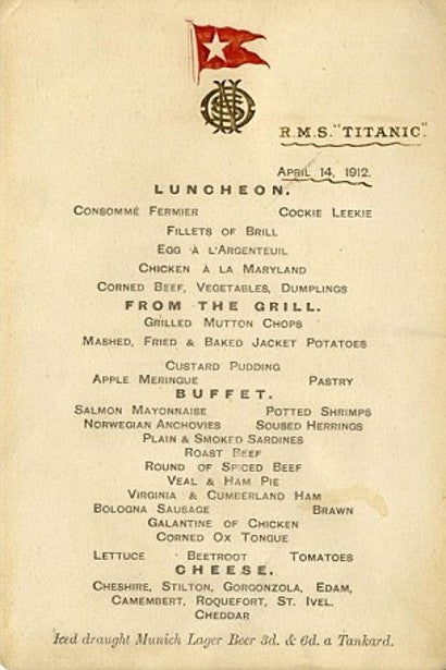 RMS Titanic last menu first class auction