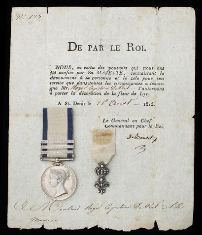 Three clasp NGS medal and Order of the Lily