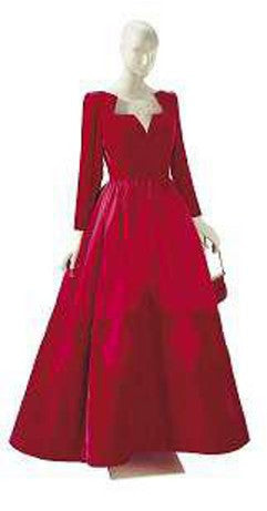 Elizabeth Taylor Valentino Red Velvet Satin Ball Gown