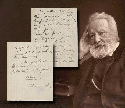 Victor Hugo signed letter and photograph