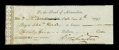 George Washington signed cheque autograph