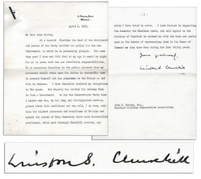 Winston Churchill typed signed letter