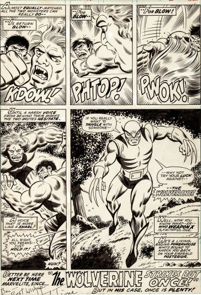 Wolverine first appearance original art