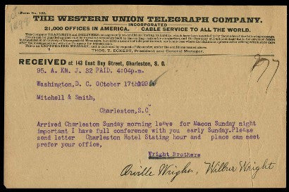 Wright Brothers First cheque