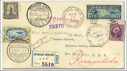 Amelia Earhart signed cover