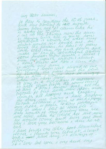 Astrid's letter after Beatle Stuart Sutcliffe's death