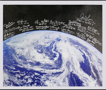 astronaut signed Earth canvas