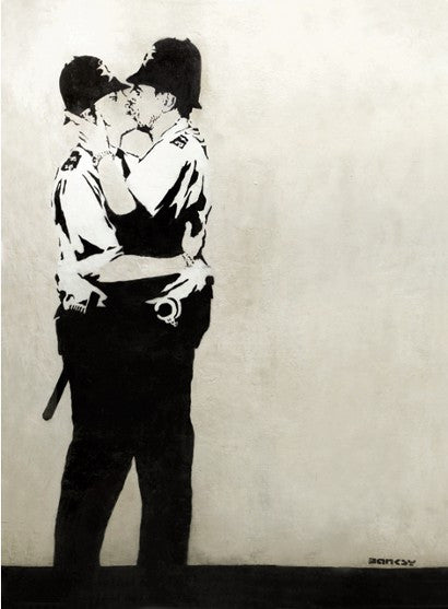 Banksy Kissing Coppers Miami