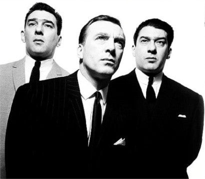 The Kray twins with their older brother Charlie (centre), photographed by David Bailey