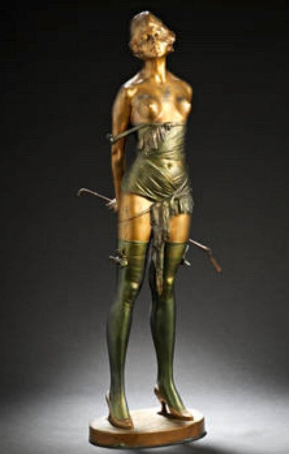bronze statue of a girl with a riding crop by Bruno Zach