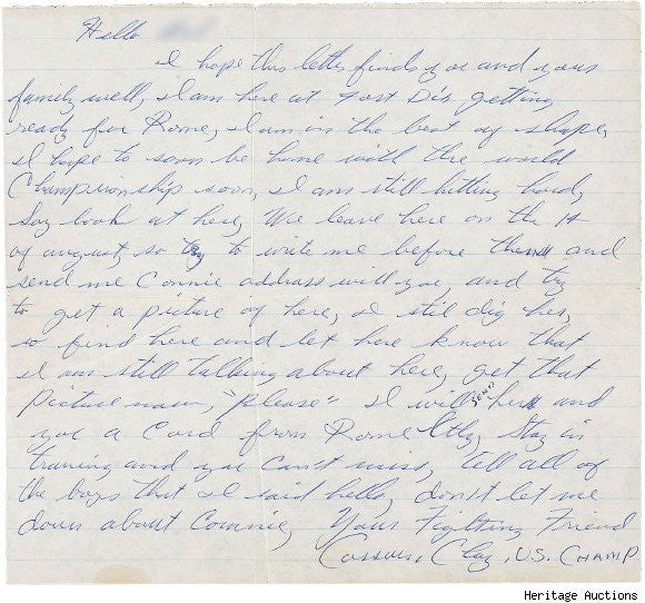 Letter signed by 'Cassius Clay'