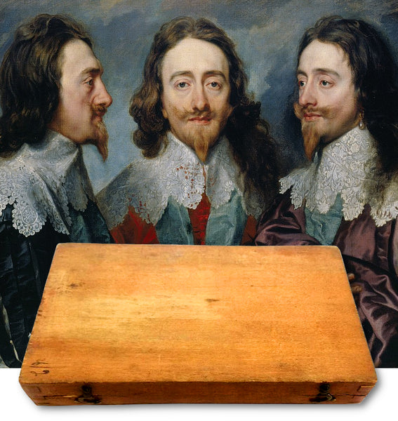 King Charles 1 box containing two locks of hair from his beard