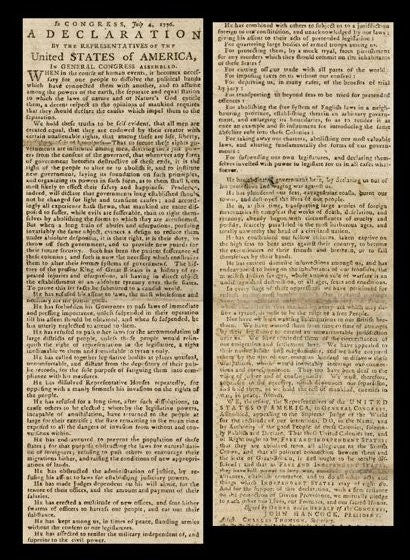 Declaration of independence broadside