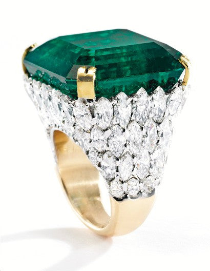 emerald platinum gold ring