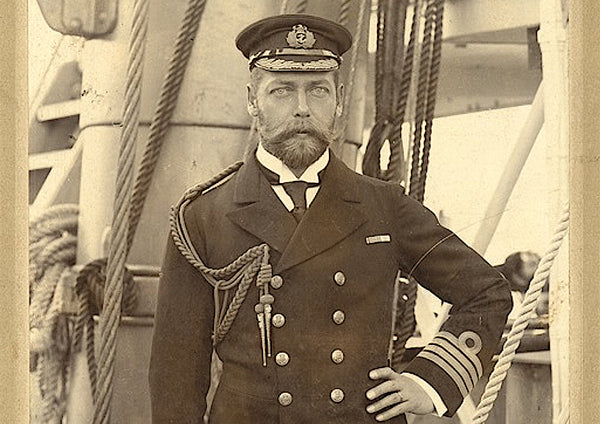 King George V, pictured on board the HMS Crescent in 1898