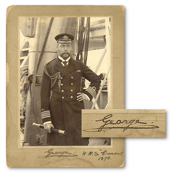 A signed photograph of King George V on board the HMS Crescent in 1898
