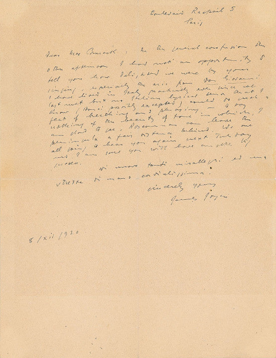 James Joyce letter