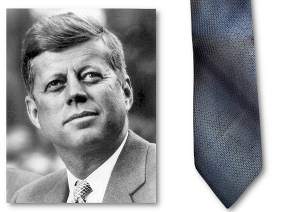 A silk necktie formerly owned and worn by John F. Kennedy