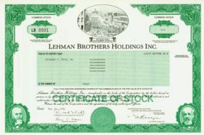 lehman brothers certificate of stock