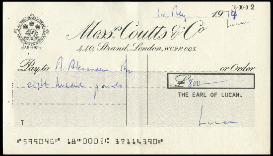Lord Lucan cheque