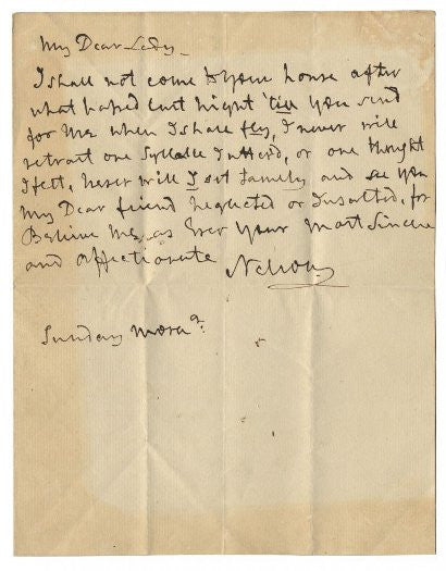 Lord Nelson Lady Hamilton letter