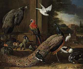 Melchior D'Hondecoeter a peacock a peahen a monkey and other birds