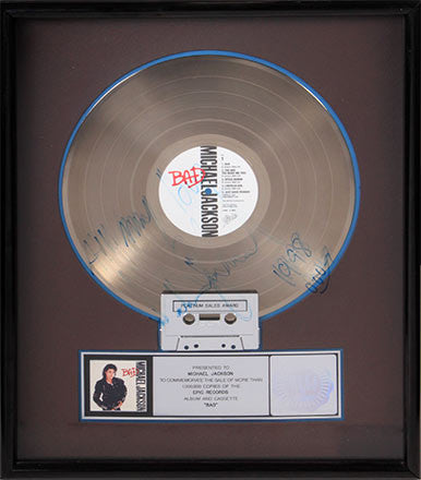 Jackson's RIAA Platinum record award for Bad ($27,500)