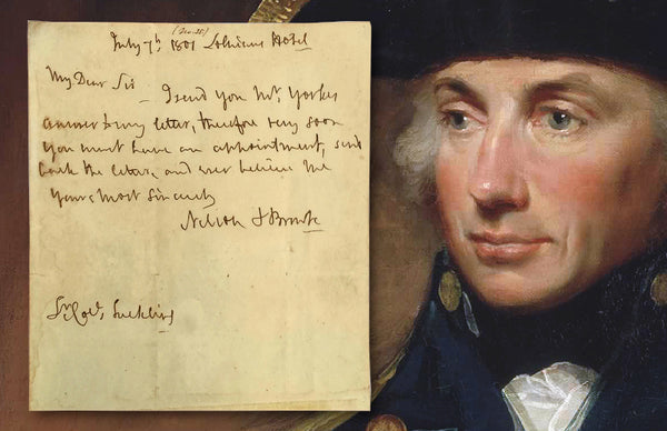 Admiral Horatio Nelson handwritten signed note, dated July 7 1801
