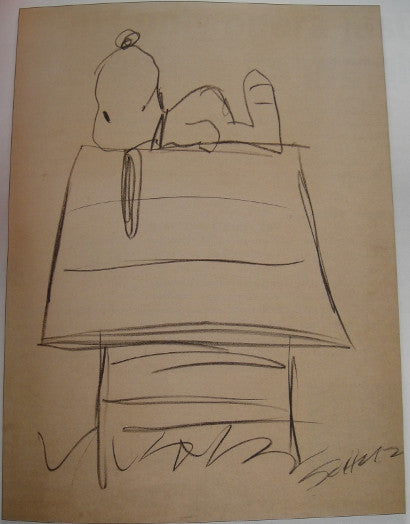 Original signed snoopy sketch by charles schultz