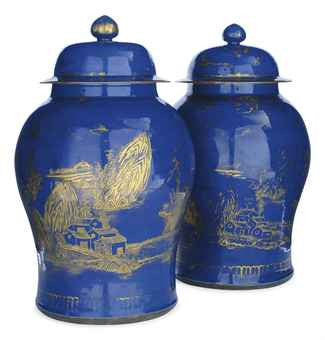 Chines powder blue gilt baluster vases 18th century