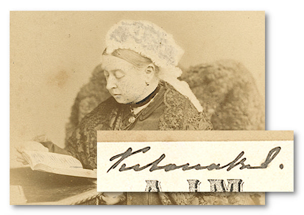 An antique photo postcard signed by Queen Victoria