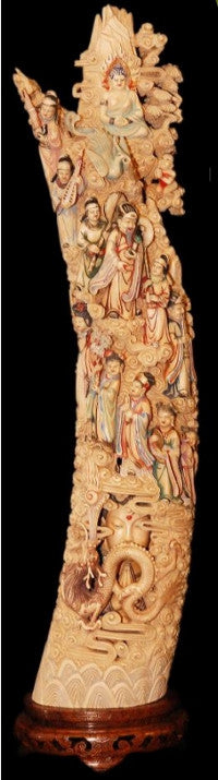 relief-carved polychromed Chinese ivory carved