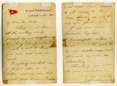 A letter from the RMS Titanic