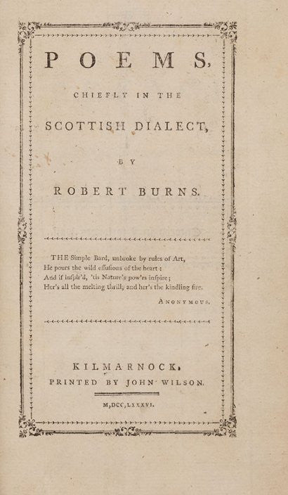 Robert Burns first edition