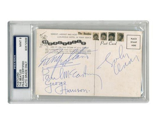signed postcard Beatles